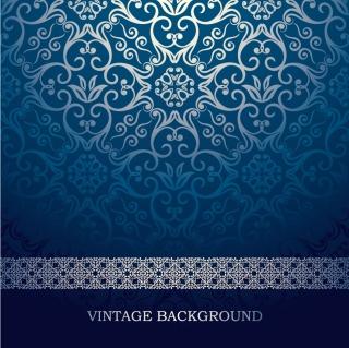 ヨーロッパ調の優雅な青い背景 blue European pattern vector background イラスト素材