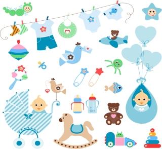 赤ちゃんを題材にしたクリップアート Newborn baby Vector Clipart イラスト素材