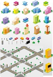 立体的な地図用の建物・道路のクリップアート City Building Vectors イラスト素材