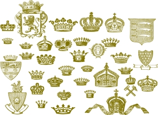 王室の王冠を描いたシルエット royal family crown series vector イラスト素材