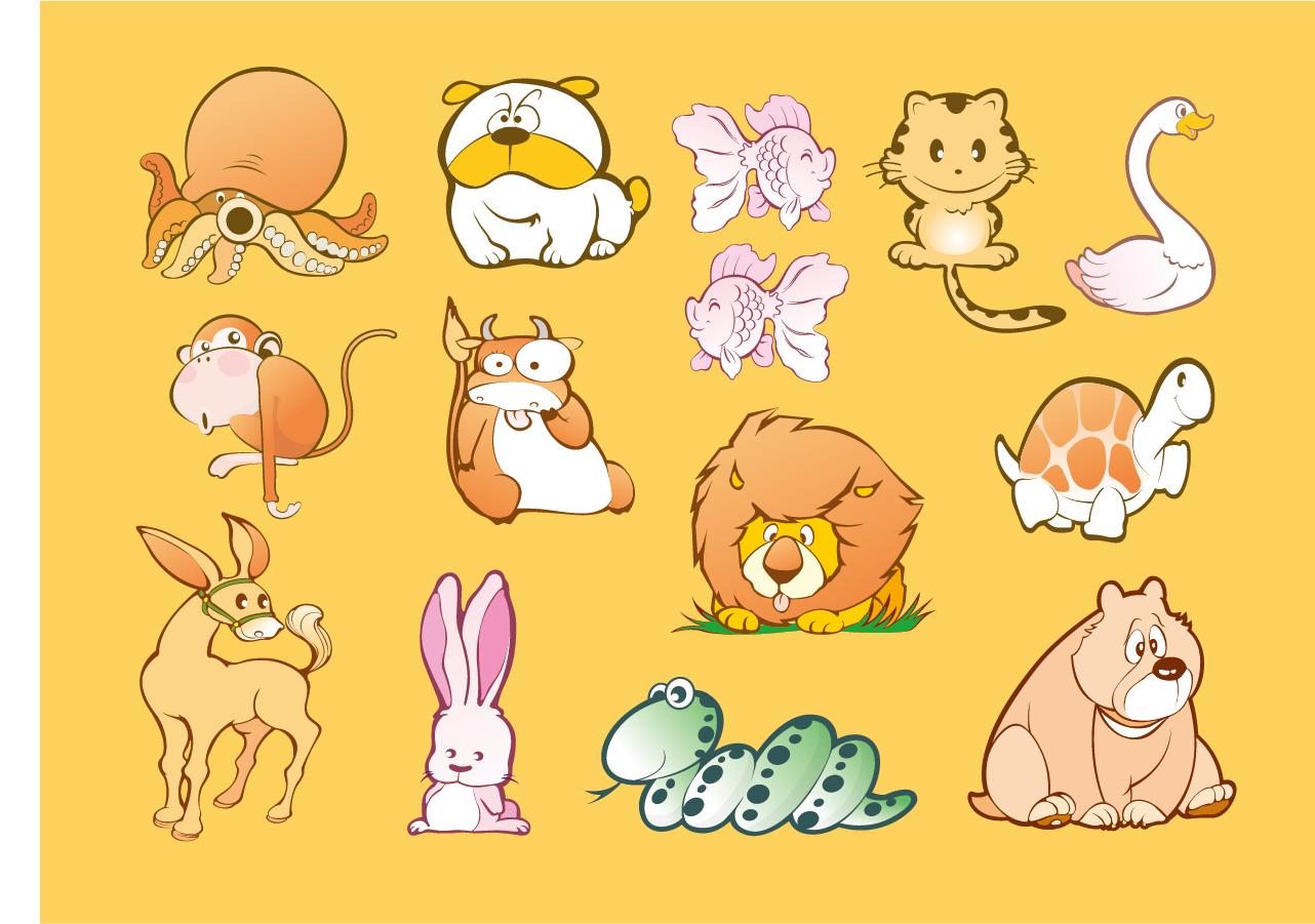 可愛い動物のクリップアート animal cartoons イラスト素材 | illustpost