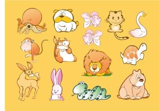 可愛い動物のクリップアート Animal Cartoons イラスト素材
