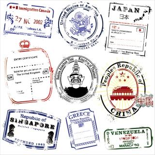 各国の郵便消印スタンプ postmarks vector in several countries イラスト素材