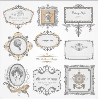 ヨーロッパ調のヴィンテージ フレーム exquisite europeanstyle pattern label イラスト素材