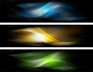 美しい光の曲線が背景に浮かぶバナー Abstract Banner Background イラスト素材