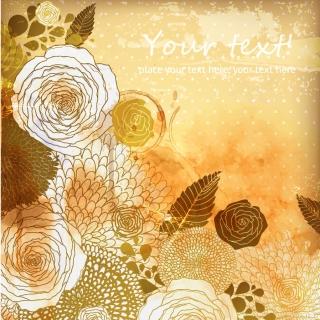 セピアカラーの古びた植物柄背景 classic retro pattern background イラスト素材