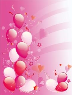 ピンクの風船がお洒落な背景 Pink Party balloons background イラスト素材
