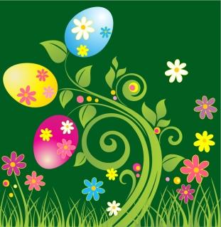 イースターエッグの植物柄背景 Easter Egg with Green Floral Vector Illustration イラスト素材