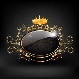美しく輝く王冠のラベル Fine european crown label イラスト素材
