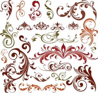 曲線が美しい植物柄の飾り罫 Floral Design Elements Vector Set イラスト素材