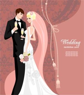 結婚式の招待状デザイン見本 wedding card background イラスト素材