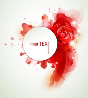 真っ赤な薔薇の花ビラを背景にしたテキストスペース Colorful Red flowers background イラスト素材