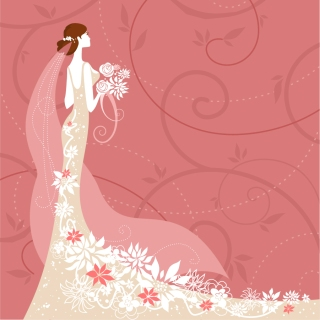 美しく着飾った花嫁の背景 wedding card background イラスト素材