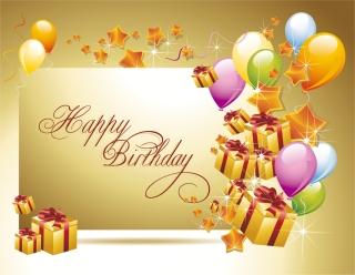 輝く誕生日カードのデザイン見本 happy birthday postcard イラスト素材