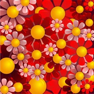真っ赤な花ビラを重ねた背景 Beautiful red flower background イラスト素材