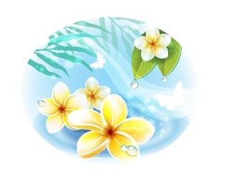 美しい花の挿し絵 beautiful flowers petals leaves イラスト素材
