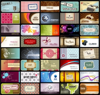 個性的な背景の名刺テンプレート variety of business card template イラスト素材