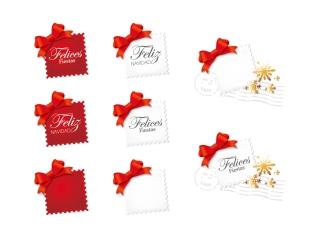 切手とリボン飾りのクリップアート stamp and butterfly flower vector イラスト素材