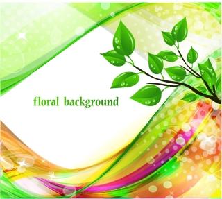 水滴が輝く緑の葉の背景 Bright Abstract Green Floral Background イラスト素材