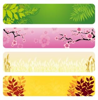 植物を題材にしたバナー Flower and leaf banner set イラスト素材