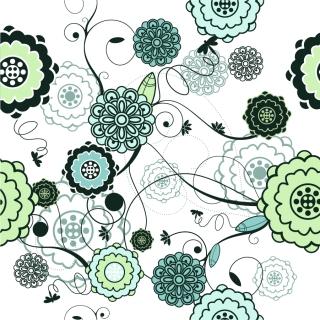 シームレスな花ビラの古風な背景 Retro Seamless Floral Background イラスト素材