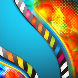 カラフルな縁取りをした曲線の背景 background color dream vector イラスト素材