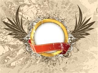 リボンと羽根で飾付けた円形フレーム ribbons wings splashing retro background イラスト素材