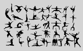 優雅なダンスのシルエット Dancing People Silhouettes イラスト素材