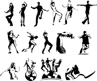 大きな動作のダンス シルエット people Dancing Silhouettes イラスト素材