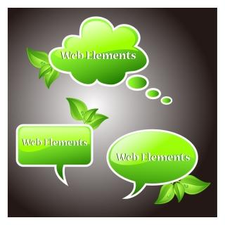 緑の植物の吹出し green drop bubble vector イラスト素材
