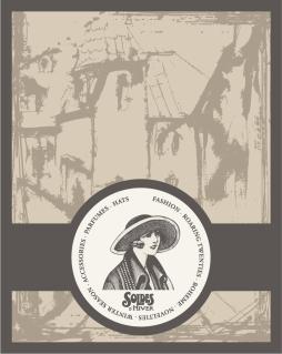 ヨーロッパ調のレトロな帯付きラベル european retro label background イラスト素材