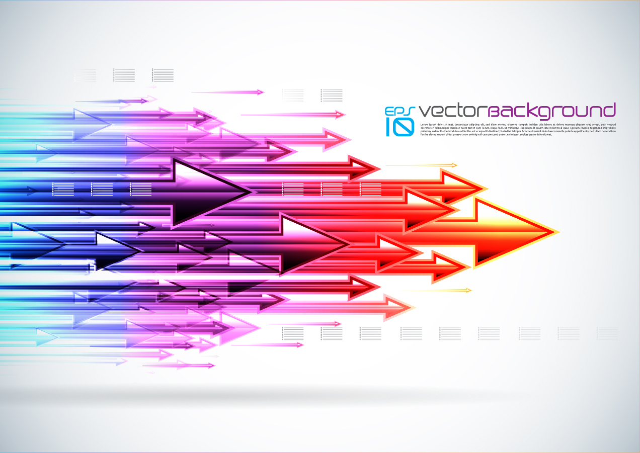 虹色に光る矢印の背景 Colorful Arrows Background Vector イラスト素材