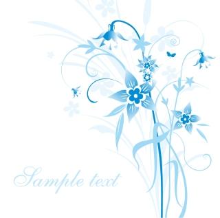 淡い単色で描いた植物の背景 Abstract Blue Floral Vector Illustration イラスト素材