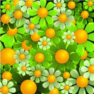 シームレスな緑の花ビラの背景 Beautiful Flowers Background イラスト素材