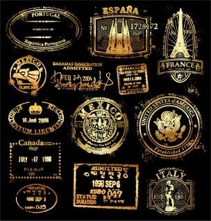 金色が美しい古典的な押印スタンプ classic gold imprint イラスト素材
