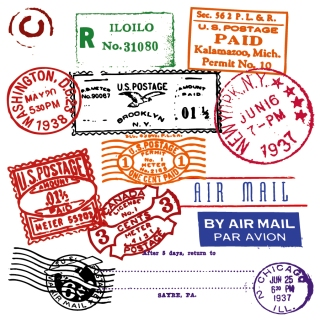 スタンプのデザイン見本 foreign stamp postmark vector イラスト素材2
