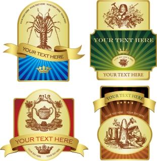 金のリボン飾りが豪華なラベル デザイン gold ribbon shield bottle stickers イラスト素材1