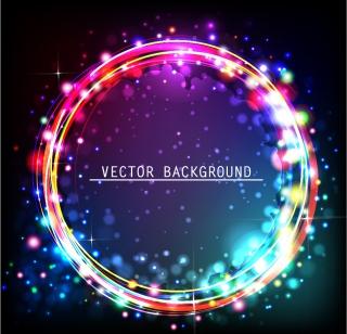 カラフルな虹色の輪が美しく光る背景 Colorful circle vector background イラスト素材