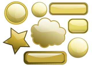 金色に輝くボタンのクリップアート clip art Some Gold Buttons イラスト素材