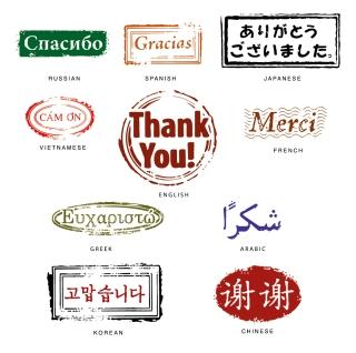 世界各国の「ありがとう」お礼スタンプ シール fine thank you seal イラスト素材