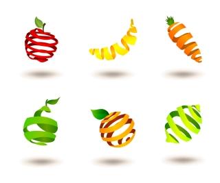 立体的にストライプで型どった果物アイコン Vector icon Striped fruits イラスト素材