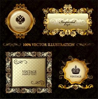 金色のレース飾りが美しいプレート gorgeous european classical pattern vector frame イラスト素材1