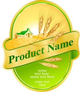 小麦の実りを描いた豪華な金ラベル wheat ribbon product labels イラスト素材