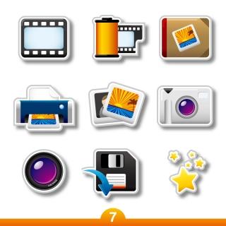 写真関連の立体アイコン photographic product label vector イラスト素材