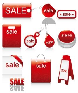 立体的な赤い割引きタグ red icon vector sales discount イラスト素材