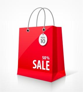 割引セールの赤い紙袋 shopping bags イラスト素材