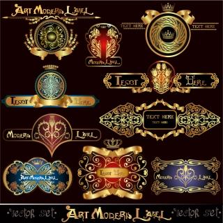 金ピカでモダンなラベル デザイン european classical sticker イラスト素材