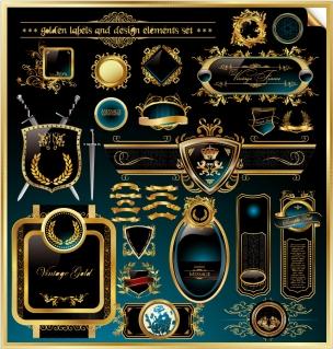 金縁が豪華に輝く修飾素材 european classical sticker イラスト素材
