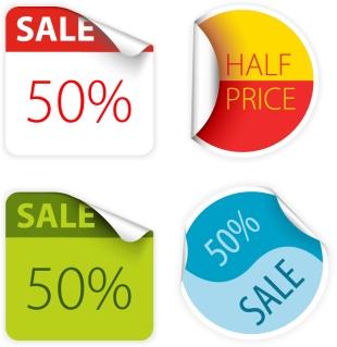 割引きステッカーのデザイン見本 sale price signs stickers イラスト素材1