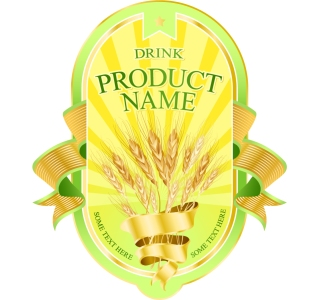 豪華な金色の小麦の収穫ラベルデザイン wheat ribbon product labels イラスト素材